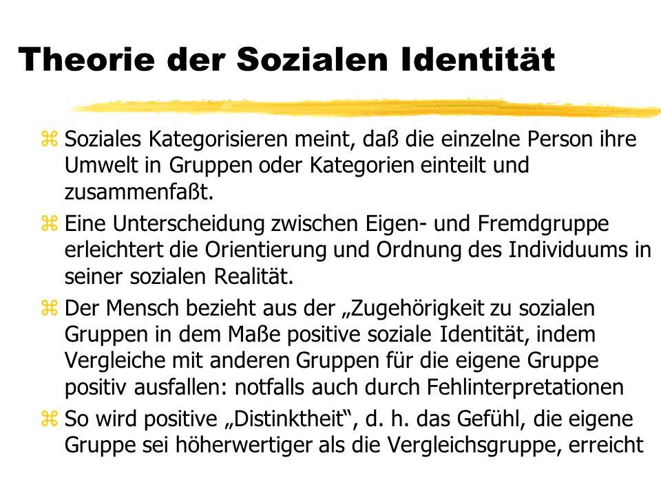 Theorie der Sozialen Identität zSoziales Kategorisieren meint, daß die einzelne Person ihre Umwelt in Gruppen oder Kategorien einteilt und zusammenfaßt.