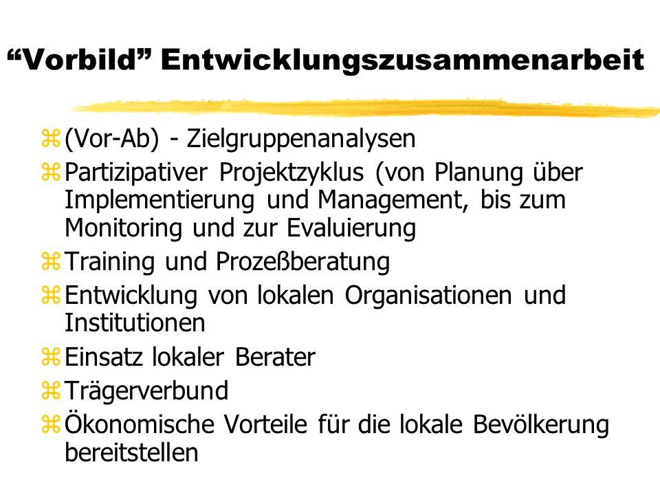 Vorbild Entwicklungszusammenarbeit z(Vor-Ab) - Zielgruppenanalysen zPartizipativer Projektzyklus (von Planung über Implementierung und Management, bis