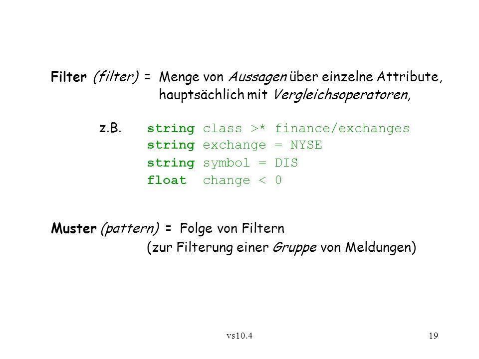 vs10.419 Filter (filter) = Menge von Aussagen über einzelne Attribute, hauptsächlich mit Vergleichsoperatoren, z.B. string class >* finance/exchanges
