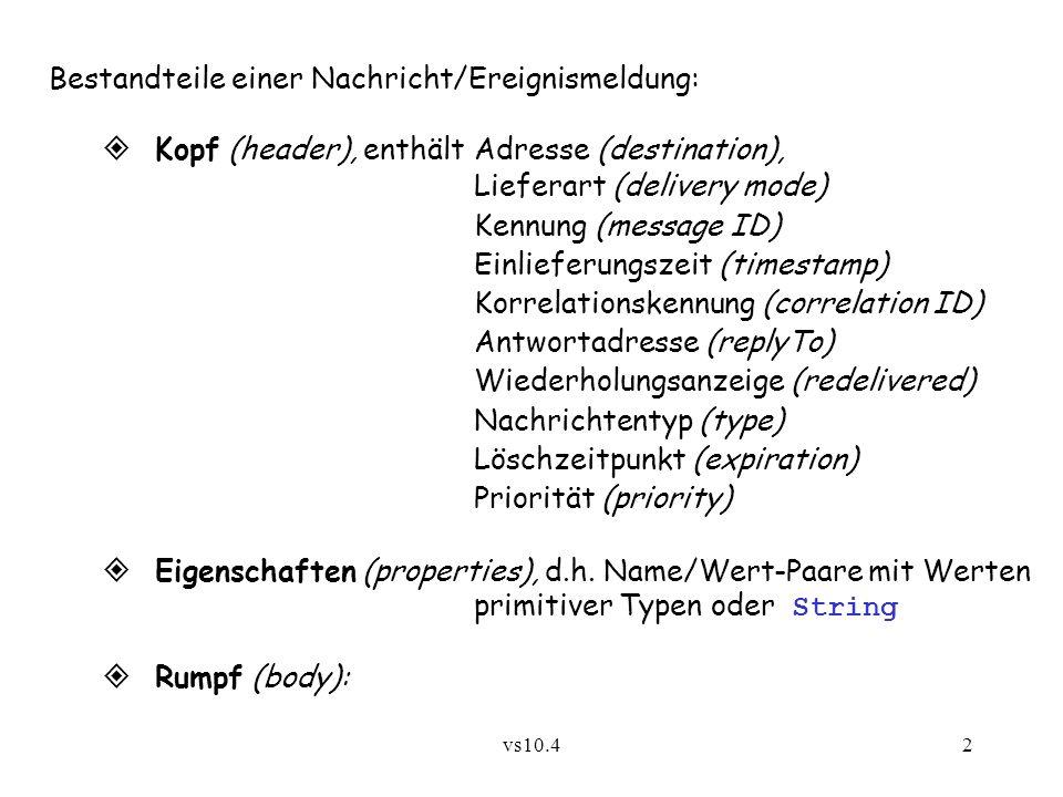 vs10.42 Bestandteile einer Nachricht/Ereignismeldung: Kopf (header), enthältAdresse (destination), Lieferart (delivery mode) Kennung (message ID) Einlieferungszeit (timestamp) Korrelationskennung (correlation ID) Antwortadresse (replyTo) Wiederholungsanzeige (redelivered) Nachrichtentyp (type) Löschzeitpunkt (expiration) Priorität (priority) Eigenschaften (properties), d.h.