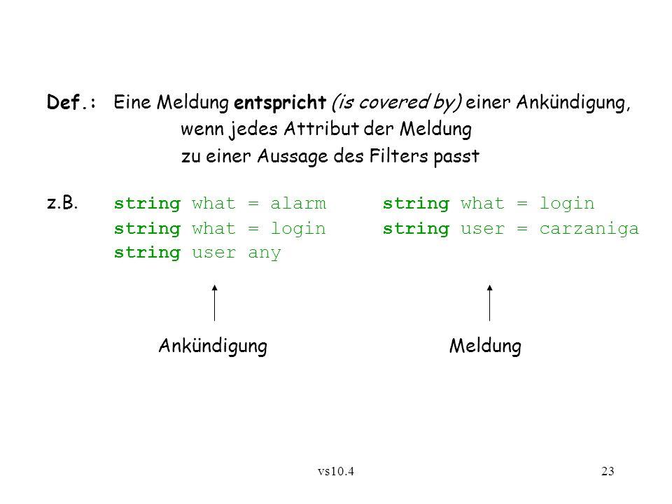 vs10.423 Def.:Eine Meldung entspricht (is covered by) einer Ankündigung, wenn jedes Attribut der Meldung zu einer Aussage des Filters passt z.B. strin
