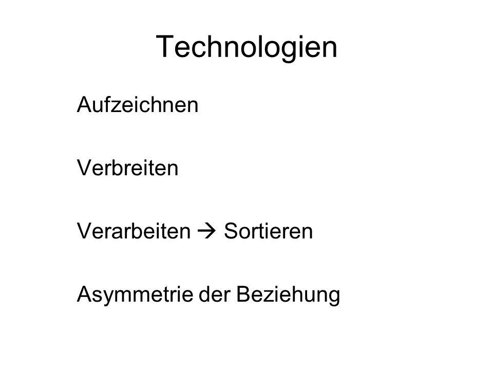 Technologien Aufzeichnen Verbreiten Verarbeiten Sortieren Asymmetrie der Beziehung