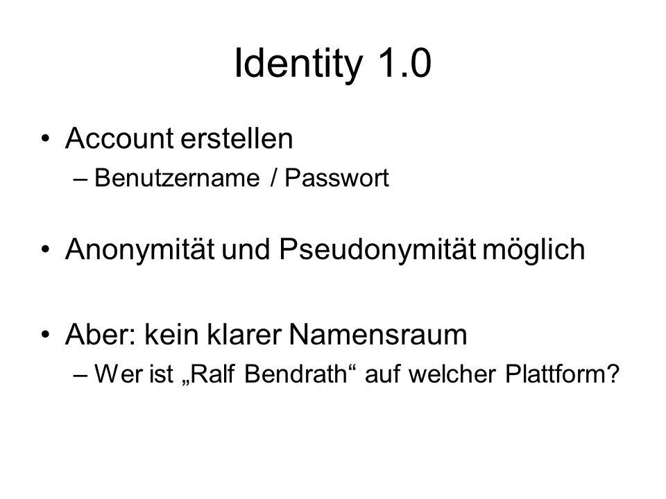 Identity 1.0 Account erstellen –Benutzername / Passwort Anonymität und Pseudonymität möglich Aber: kein klarer Namensraum –Wer ist Ralf Bendrath auf w