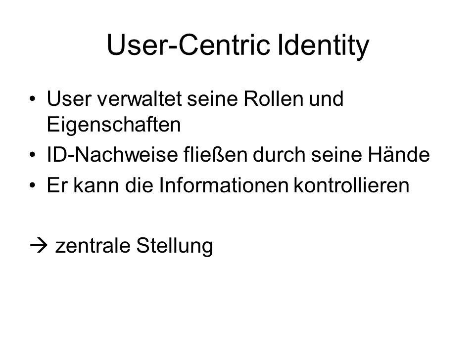 User-Centric Identity User verwaltet seine Rollen und Eigenschaften ID-Nachweise fließen durch seine Hände Er kann die Informationen kontrollieren zen
