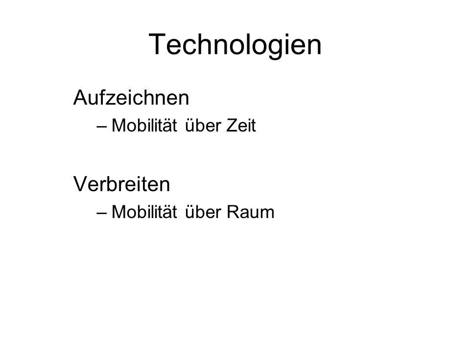 Technologien Aufzeichnen –Mobilität über Zeit Verbreiten –Mobilität über Raum