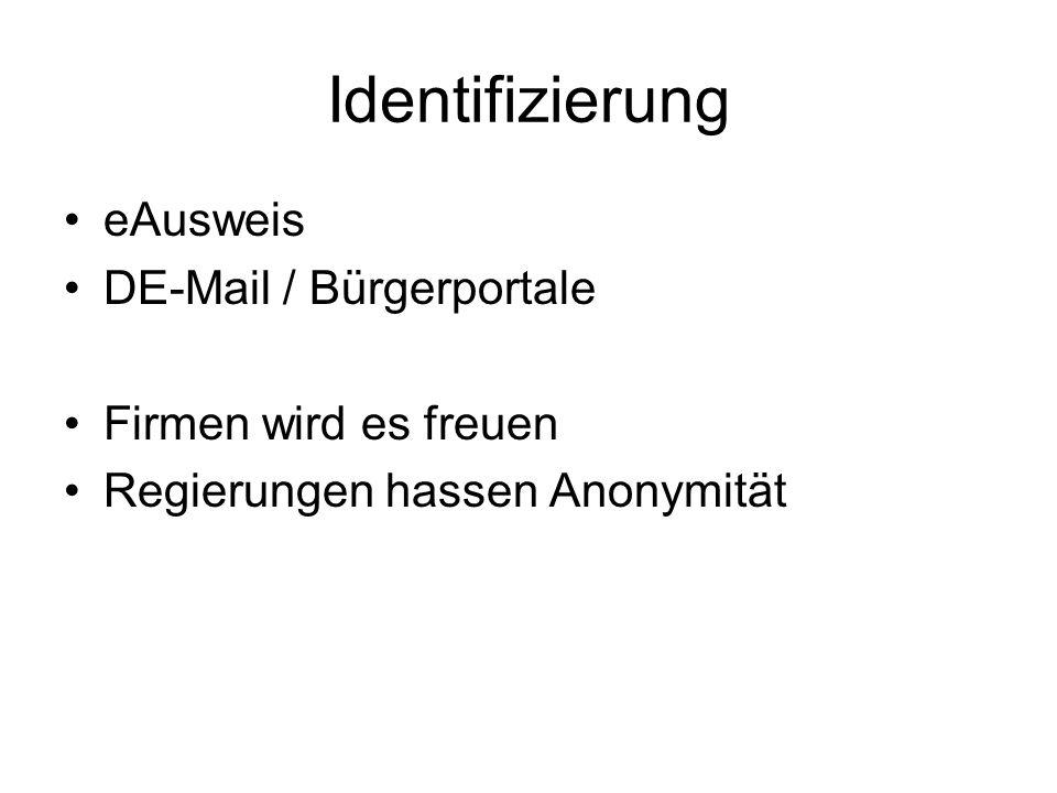 Identifizierung eAusweis DE-Mail / Bürgerportale Firmen wird es freuen Regierungen hassen Anonymität