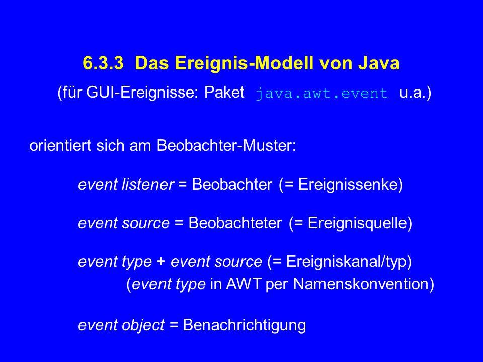 6.3.3 Das Ereignis-Modell von Java orientiert sich am Beobachter-Muster: event listener = Beobachter (= Ereignissenke) event source = Beobachteter (=