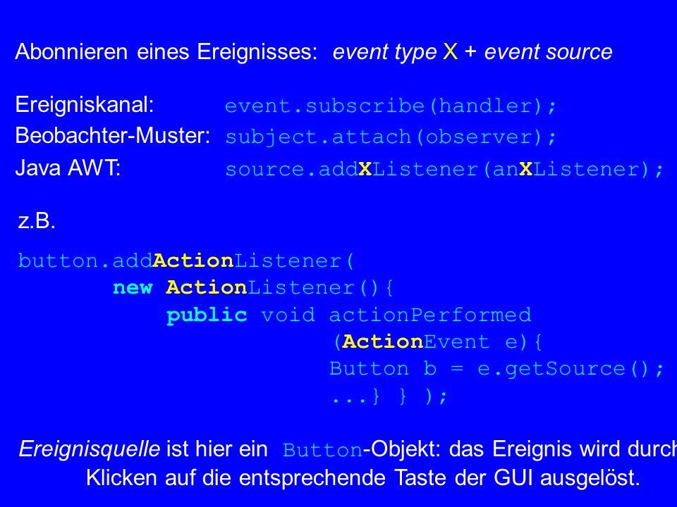 Abonnieren eines Ereignisses: event type X + event source Ereigniskanal: event.subscribe(handler); Beobachter-Muster: subject.attach(observer); Java A
