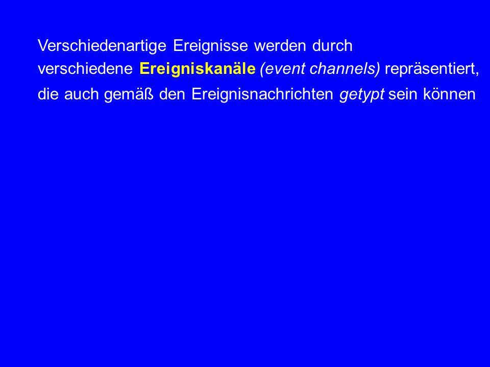 Verschiedenartige Ereignisse werden durch verschiedene Ereigniskanäle (event channels) repräsentiert, die auch gemäß den Ereignisnachrichten getypt se