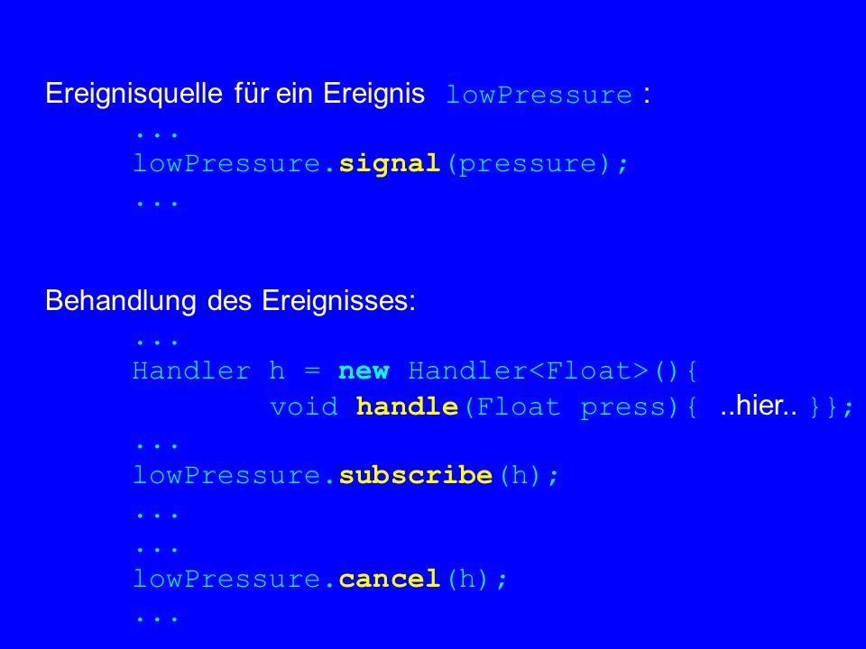Ereignisquelle für ein Ereignis lowPressure :... lowPressure.signal(pressure);... Behandlung des Ereignisses:... Handler h = new Handler (){ void hand
