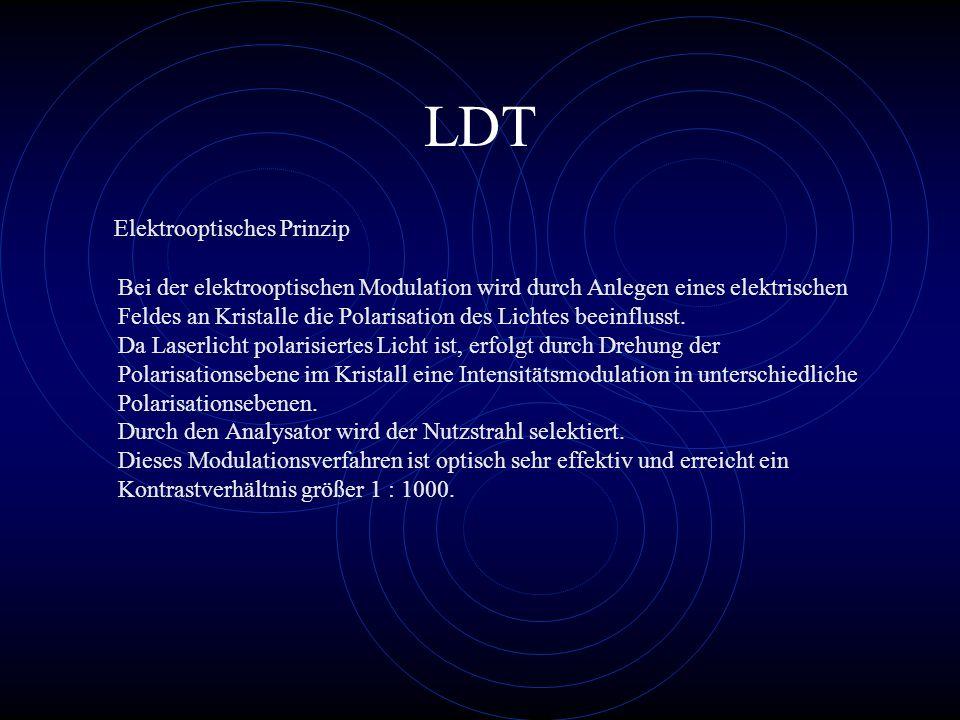 LDT Bei der elektrooptischen Modulation wird durch Anlegen eines elektrischen Feldes an Kristalle die Polarisation des Lichtes beeinflusst. Da Laserli