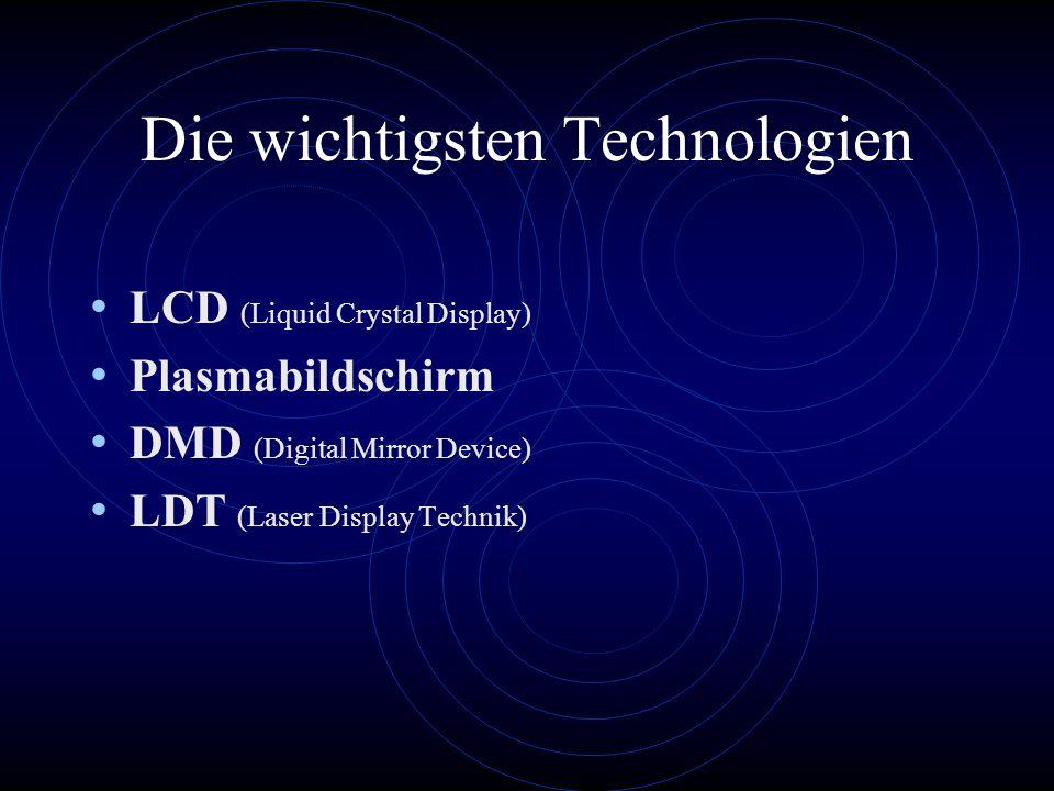 Die wichtigsten Technologien LCD (Liquid Crystal Display) Plasmabildschirm DMD (Digital Mirror Device) LDT (Laser Display Technik)