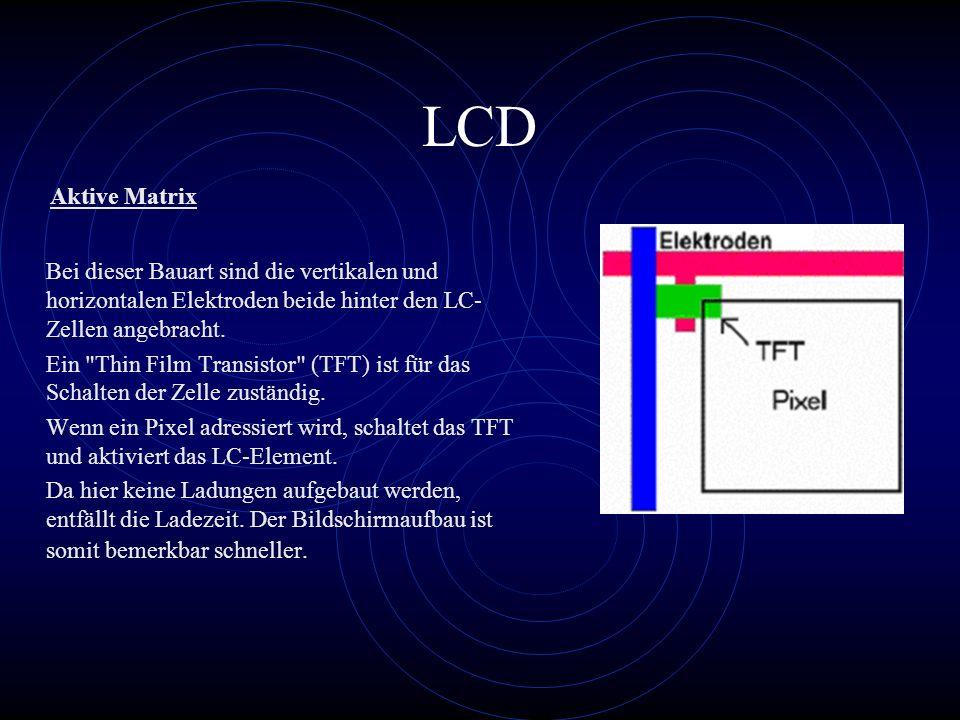 LCD Bei dieser Bauart sind die vertikalen und horizontalen Elektroden beide hinter den LC- Zellen angebracht. Ein