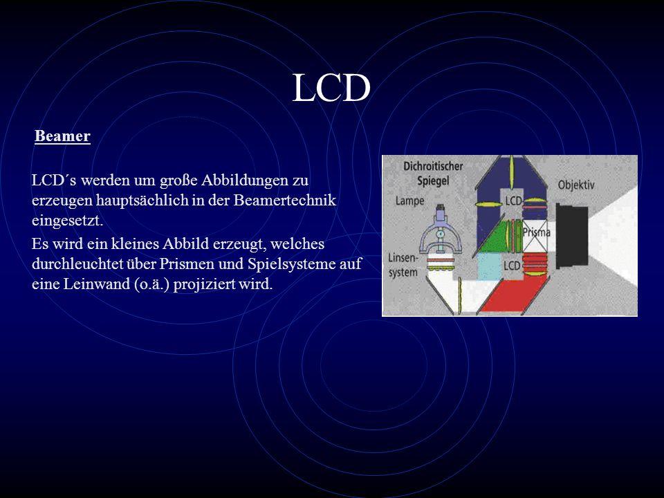 LCD LCD´s werden um große Abbildungen zu erzeugen hauptsächlich in der Beamertechnik eingesetzt. Es wird ein kleines Abbild erzeugt, welches durchleuc
