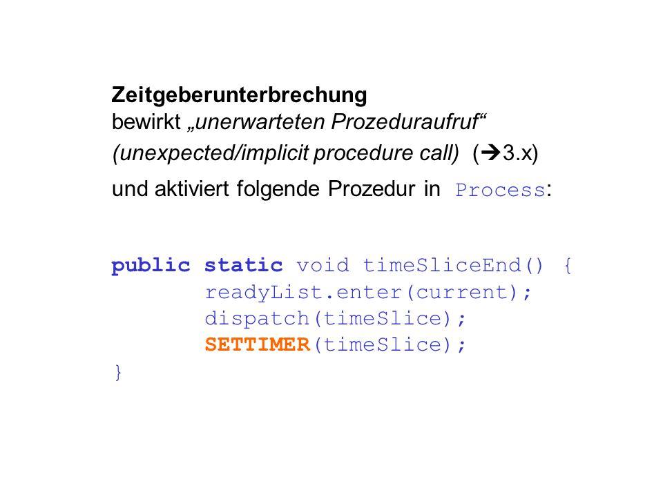 public static void timeSliceEnd() { readyList.enter(current); dispatch(timeSlice); SETTIMER(timeSlice); } Zeitgeberunterbrechung bewirkt unerwarteten