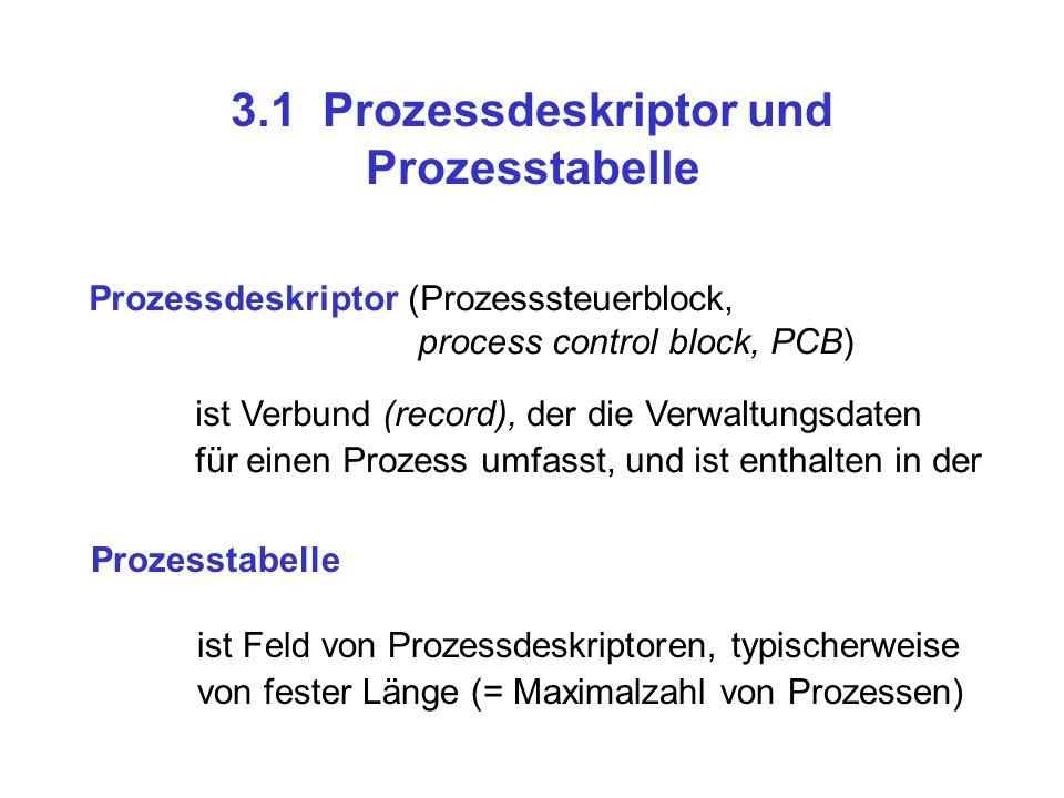 3.1 Prozessdeskriptor und Prozesstabelle Prozessdeskriptor(Prozesssteuerblock, process control block, PCB) ist Verbund (record), der die Verwaltungsda