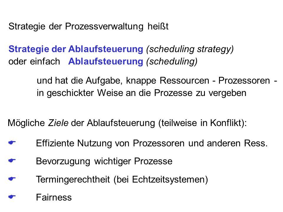 Strategie der Prozessverwaltung heißt Strategie der Ablaufsteuerung (scheduling strategy) oder einfach Ablaufsteuerung (scheduling) und hat die Aufgab