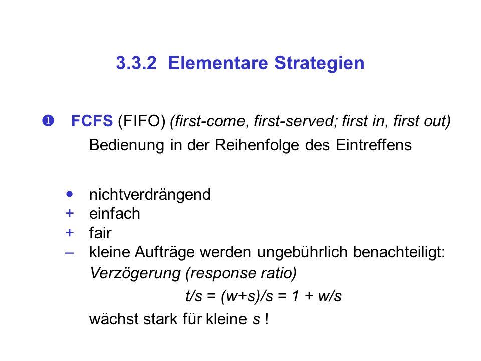 3.3.2 Elementare Strategien FCFS (FIFO) (first-come, first-served; first in, first out) Bedienung in der Reihenfolge des Eintreffens nichtverdrängend