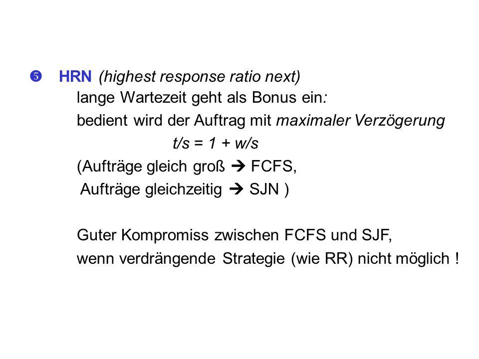 HRN (highest response ratio next) lange Wartezeit geht als Bonus ein: bedient wird der Auftrag mit maximaler Verzögerung t/s = 1 + w/s (Aufträge gleic