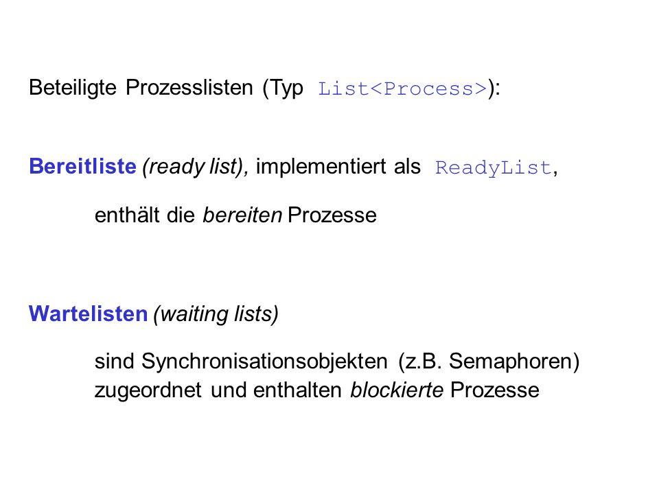Beteiligte Prozesslisten (Typ List ): Bereitliste (ready list), implementiert als ReadyList, enthält die bereiten Prozesse Wartelisten (waiting lists)