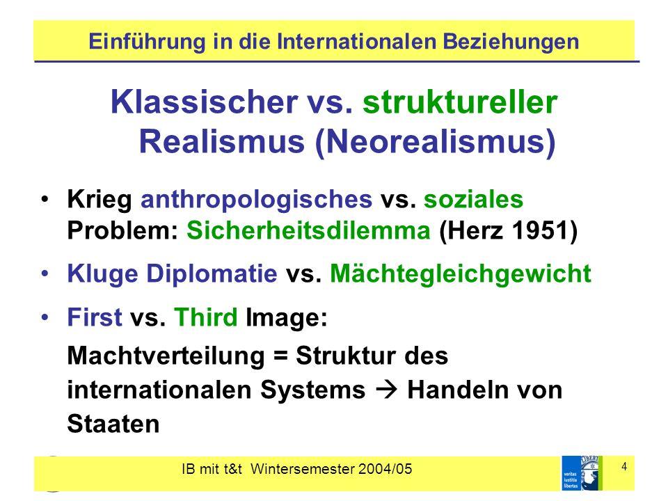 IB mit t&t Wintersemester 2004/05 4 Einführung in die Internationalen Beziehungen Klassischer vs.