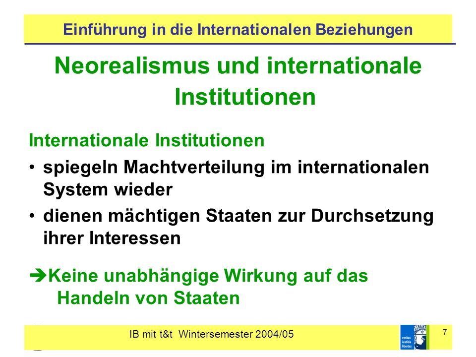 IB mit t&t Wintersemester 2004/05 7 Einführung in die Internationalen Beziehungen Neorealismus und internationale Institutionen Internationale Institu