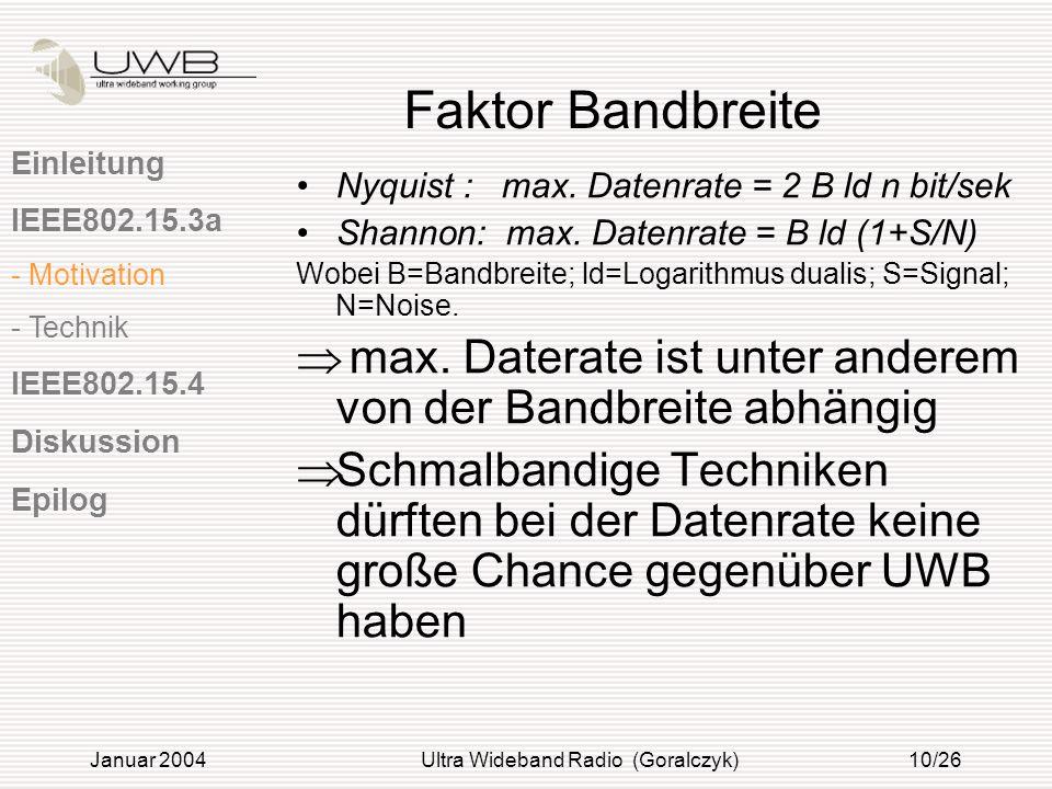 Januar 2004Ultra Wideband Radio (Goralczyk)10/26 Faktor Bandbreite Nyquist : max. Datenrate = 2 B ld n bit/sek Shannon: max. Datenrate = B ld (1+S/N)