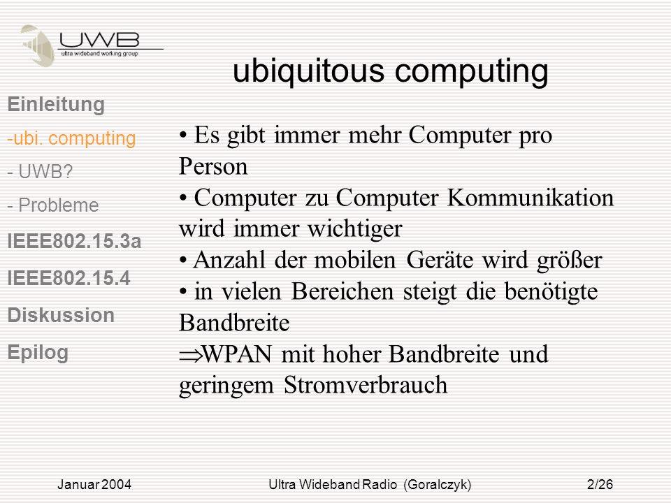 Januar 2004Ultra Wideband Radio (Goralczyk)2/26 ubiquitous computing Einleitung -ubi. computing - UWB? - Probleme IEEE802.15.3a IEEE802.15.4 Diskussio