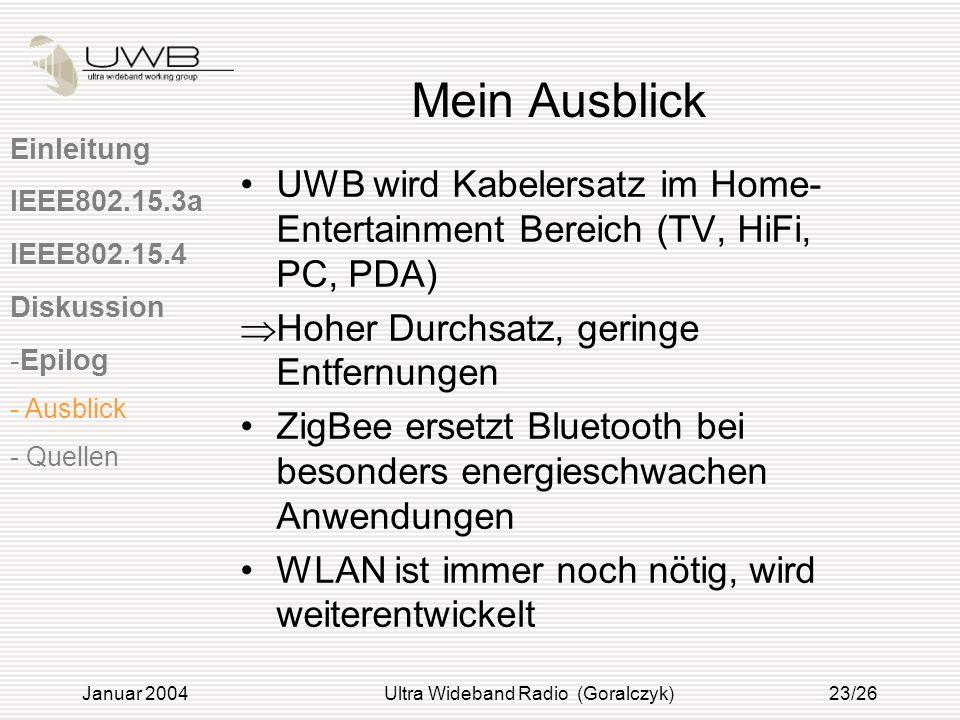 Januar 2004Ultra Wideband Radio (Goralczyk)23/26 Mein Ausblick UWB wird Kabelersatz im Home- Entertainment Bereich (TV, HiFi, PC, PDA) Hoher Durchsatz