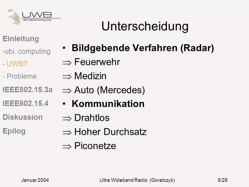 Januar 2004Ultra Wideband Radio (Goralczyk)5/26 Unterscheidung Bildgebende Verfahren (Radar) Feuerwehr Medizin Auto (Mercedes) Kommunikation Drahtlos