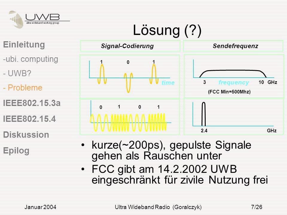 Januar 2004Ultra Wideband Radio (Goralczyk)8/26 Motivation Wachsende Zahl an Mobilgeräten und Breitbandinternetzugängen machen WPANs immer beliebter Bluetooth nur Sprachverbindung Alternative UWB Einleitung IEEE802.15.3a - Motivation - Technik IEEE802.15.4 Diskussion Epilog