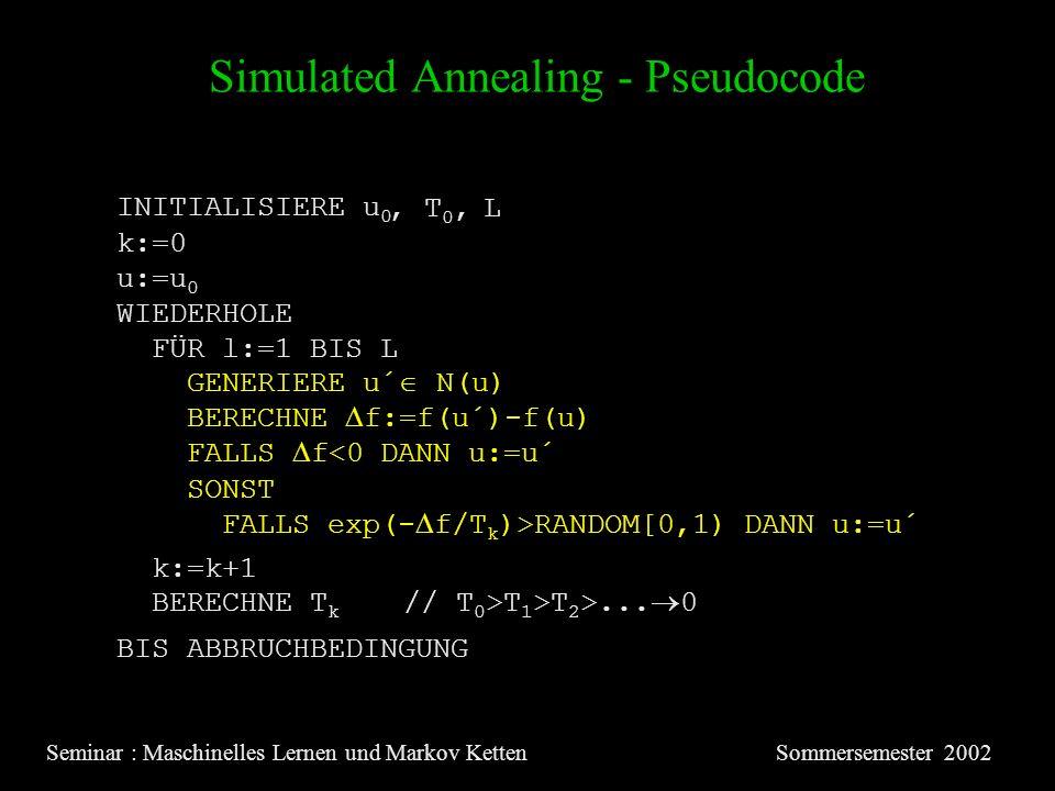 Simulated Annealing - Pseudocode Seminar : Maschinelles Lernen und Markov KettenSommersemester 2002 INITIALISIERE u 0 u:=u 0 WIEDERHOLE FÜR l:=1 BIS L GENERIERE u´ N(u) BERECHNE f:=f(u´)-f(u) FALLS f<0 DANN u:=u´ SONST FALLS exp(- f/T k )>RANDOM[0,1) DANN u:=u´ BERECHNE T k // T 0 >T 1 >T 2 >...