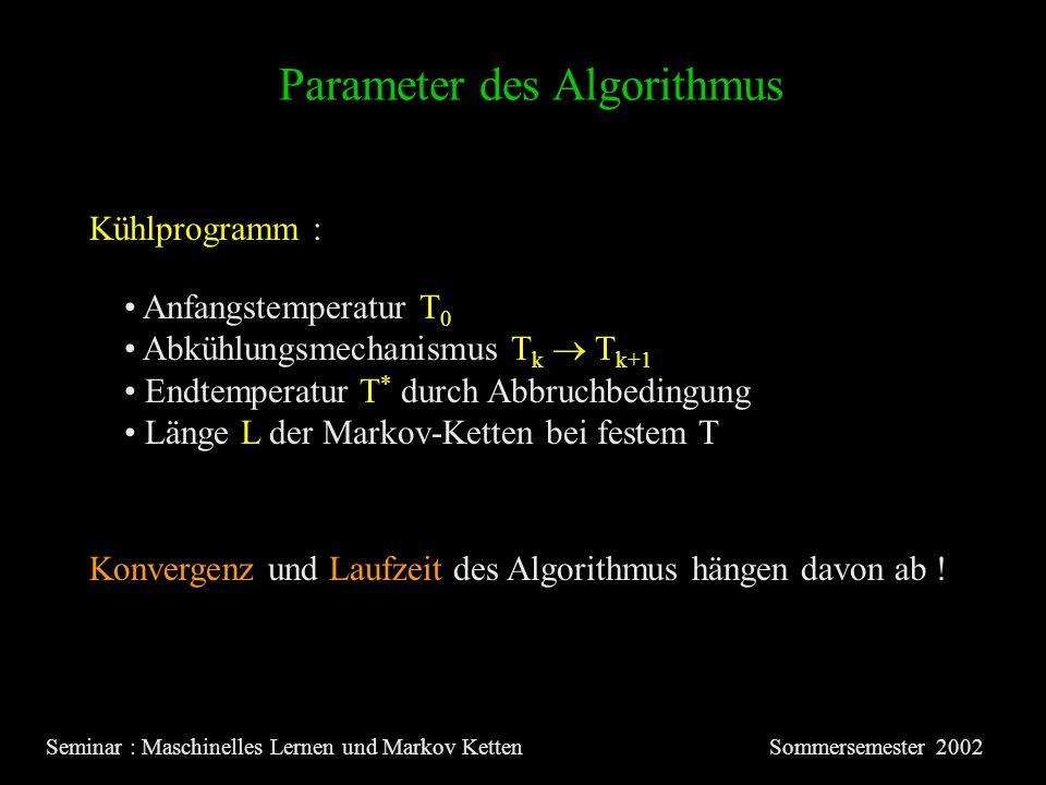 Parameter des Algorithmus Seminar : Maschinelles Lernen und Markov KettenSommersemester 2002 Kühlprogramm : Anfangstemperatur T 0 Abkühlungsmechanismus T k T k+1 Endtemperatur T * durch Abbruchbedingung Länge L der Markov-Ketten bei festem T Konvergenz und Laufzeit des Algorithmus hängen davon ab !