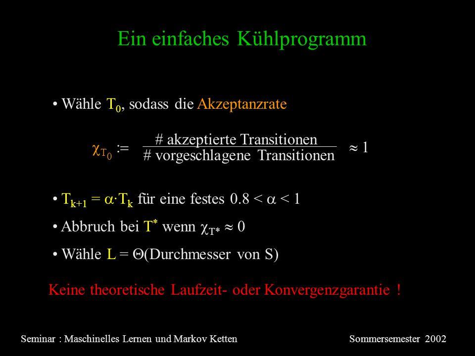 Ein einfaches Kühlprogramm Seminar : Maschinelles Lernen und Markov KettenSommersemester 2002 Wähle T 0, sodass die Akzeptanzrate T 0 Wähle L = (Durchmesser von S) T k+1 = ·T k für eine festes 0.8 < < 1 Abbruch bei T * wenn T* 0 Keine theoretische Laufzeit- oder Konvergenzgarantie .