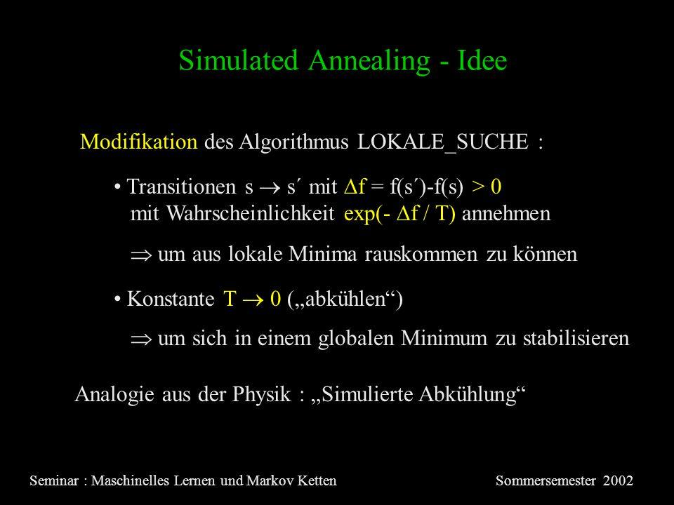 Simulated Annealing - Idee Seminar : Maschinelles Lernen und Markov KettenSommersemester 2002 Modifikation des Algorithmus LOKALE_SUCHE : Transitionen s s´ mit f = f(s´)-f(s) > 0 mit Wahrscheinlichkeit exp(- f / T) annehmen um aus lokale Minima rauskommen zu können Konstante T 0 (abkühlen) um sich in einem globalen Minimum zu stabilisieren Analogie aus der Physik : Simulierte Abkühlung