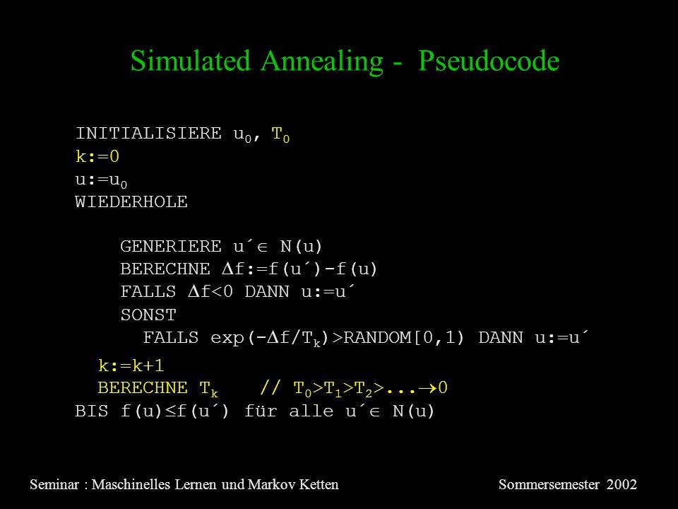 Simulated Annealing - Pseudocode Seminar : Maschinelles Lernen und Markov KettenSommersemester 2002 INITIALISIERE u 0, T 0 u:=u 0 WIEDERHOLE GENERIERE u´ N(u) BERECHNE f:=f(u´)-f(u) FALLS f<0 DANN u:=u´ SONST FALLS exp(- f/T k )>RANDOM[0,1) DANN u:=u´ BERECHNE T k // T 0 >T 1 >T 2 >...
