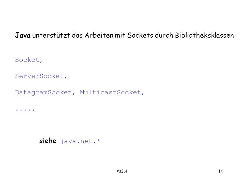 vs2.410 Java unterstützt das Arbeiten mit Sockets durch Bibliotheksklassen Socket, ServerSocket, DatagramSocket, MulticastSocket,.....