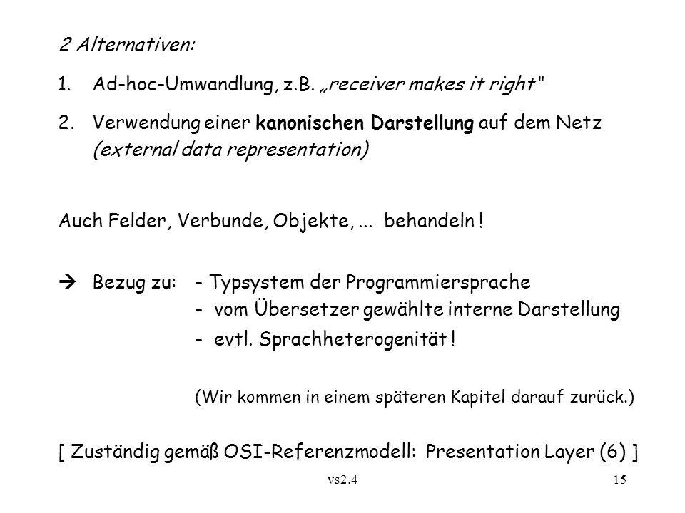 vs2.415 2 Alternativen: 1.Ad-hoc-Umwandlung, z.B.