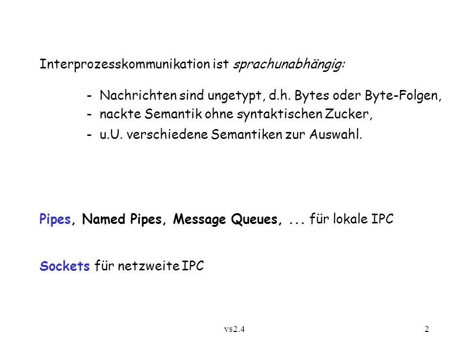 vs2.43 2.4.1 Pipes Pipe = Simplex-Kanal (Solaris: Duplex!) verbunden mit einem Eingabe- und einem Ausgabe-Port (typischerweise verschiedener Prozesse) Senden: int write(int port, char *buffer, int length) Empfangen: int read(int port, char *buffer, int length) Adressierung:portbezogen Konfigurierung:dynamisch durch Programm: Erzeugung von Prozessen und Pipes, Vererben von Ports bei Prozesserzeugung Semantik:zuverlässiger Byte-Strom mit begrenzter Pufferung; read erfolgreich, sobald mindestens 1 Byte vorliegt; write erfolgreich, sobald length Bytes frei; auch nichtblockierende Versionen.