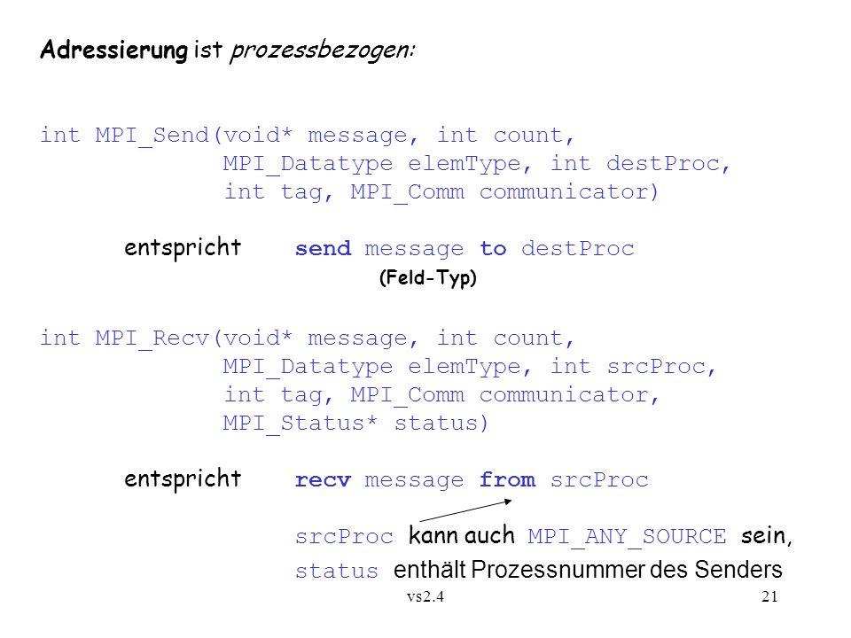 vs2.421 Adressierung ist prozessbezogen: int MPI_Send(void* message, int count, MPI_Datatype elemType, int destProc, int tag, MPI_Comm communicator) e
