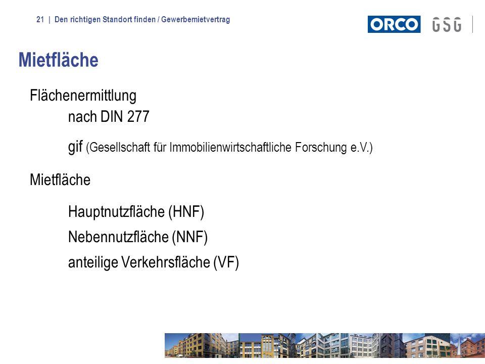 | Den richtigen Standort finden / Gewerbemietvertrag21 Mietfläche Flächenermittlung nach DIN 277 gif (Gesellschaft für Immobilienwirtschaftliche Forsc