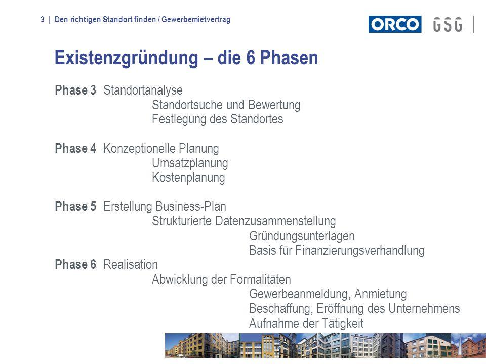| Den richtigen Standort finden / Gewerbemietvertrag3 Existenzgründung – die 6 Phasen Phase 3 Standortanalyse Standortsuche und Bewertung Festlegung d