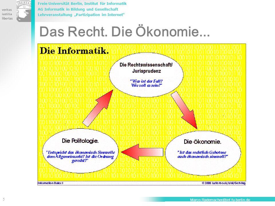 Freie Universität Berlin, Institut für Informatik AG Informatik in Bildung und Gesellschaft Lehrveranstaltung Partizipation im Internet 5 Marco.Rademacher@inf.fu-berlin.de Das Recht.
