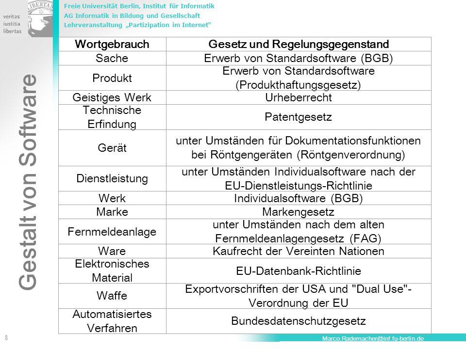 Freie Universität Berlin, Institut für Informatik AG Informatik in Bildung und Gesellschaft Lehrveranstaltung Partizipation im Internet 8 Marco.Rademacher@inf.fu-berlin.de Gestalt von Software WortgebrauchGesetz und Regelungsgegenstand SacheErwerb von Standardsoftware (BGB) Produkt Erwerb von Standardsoftware (Produkthaftungsgesetz) Geistiges WerkUrheberrecht Technische Erfindung Patentgesetz Gerät unter Umständen für Dokumentationsfunktionen bei Röntgengeräten (Röntgenverordnung) Dienstleistung unter Umständen Individualsoftware nach der EU-Dienstleistungs-Richtlinie WerkIndividualsoftware (BGB) MarkeMarkengesetz Fernmeldeanlage unter Umständen nach dem alten Fernmeldeanlagengesetz (FAG) WareKaufrecht der Vereinten Nationen Elektronisches Material EU-Datenbank-Richtlinie Waffe Exportvorschriften der USA und Dual Use - Verordnung der EU Automatisiertes Verfahren Bundesdatenschutzgesetz