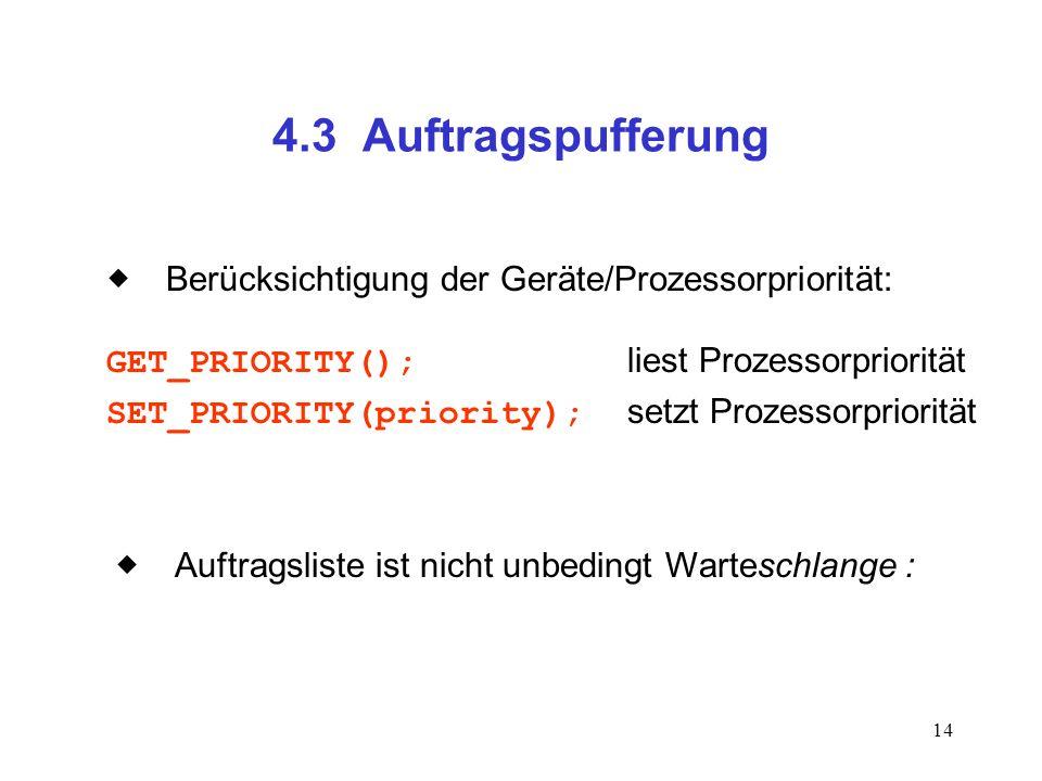 14 4.3 Auftragspufferung Berücksichtigung der Geräte/Prozessorpriorität: GET_PRIORITY(); liest Prozessorpriorität SET_PRIORITY(priority); setzt Prozes