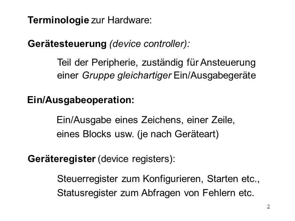 2 Terminologie zur Hardware: Gerätesteuerung (device controller): Teil der Peripherie, zuständig für Ansteuerung einer Gruppe gleichartiger Ein/Ausgab