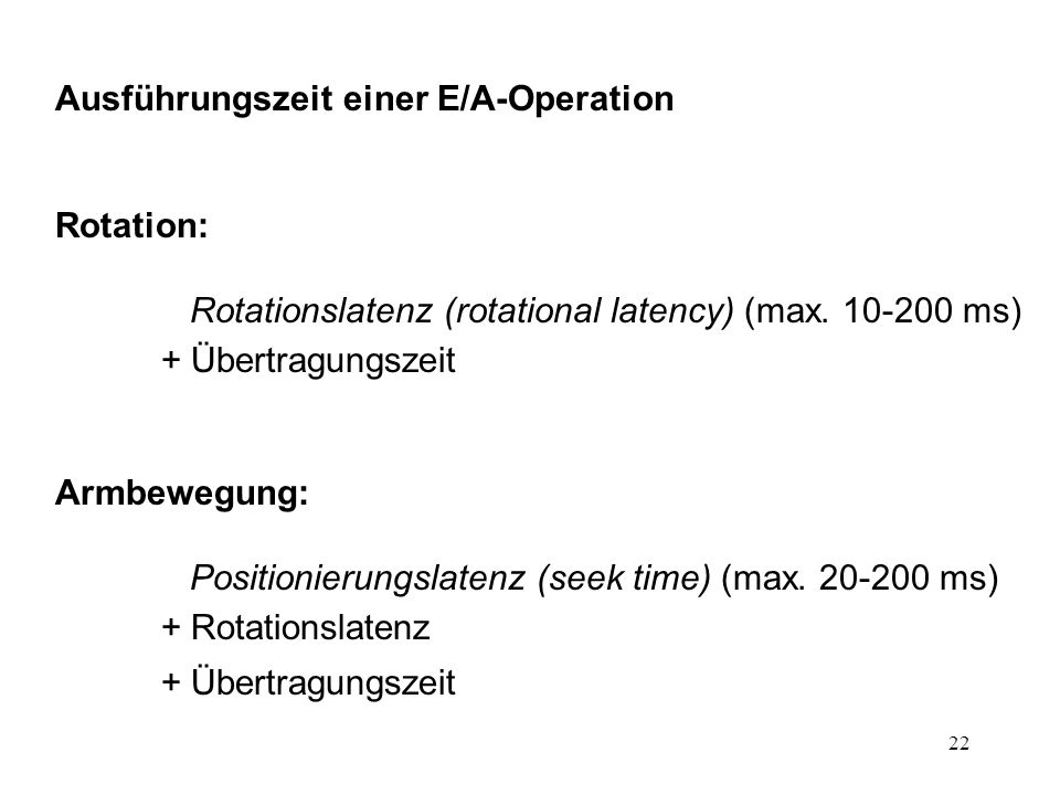22 Ausführungszeit einer E/A-Operation Rotation: Rotationslatenz (rotational latency) (max.