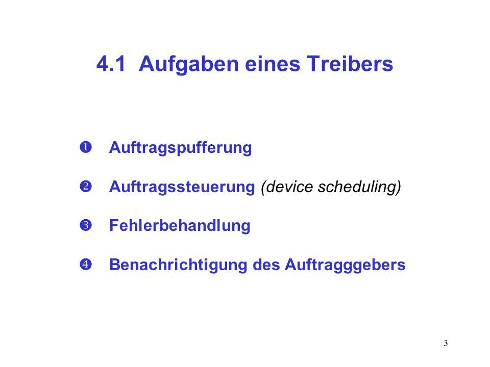 3 4.1 Aufgaben eines Treibers Auftragspufferung Auftragssteuerung (device scheduling) Fehlerbehandlung Benachrichtigung des Auftragggebers