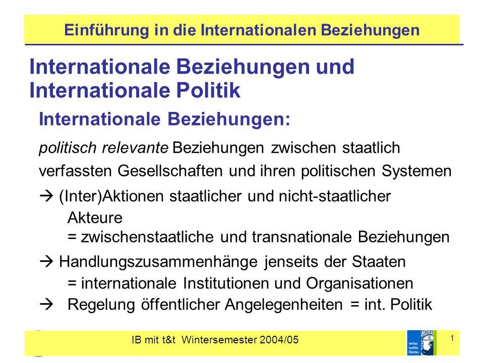 IB mit t&t Wintersemester 2004/05 1 Einführung in die Internationalen Beziehungen Internationale Beziehungen und Internationale Politik Internationale