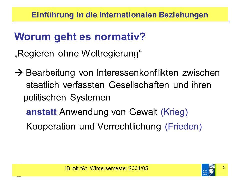 IB mit t&t Wintersemester 2004/05 3 Einführung in die Internationalen Beziehungen Worum geht es normativ? Regieren ohne Weltregierung Bearbeitung von